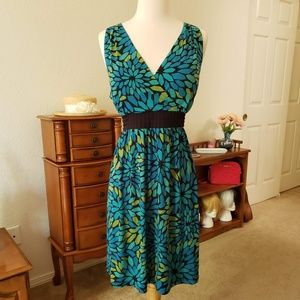 NWOT Apt.9 Blue Green V Neck Tie Dress